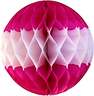 product image for 6-Pack 12 Inch Honeycomb Tissue Paper Ball Decoration (Cerise/White)