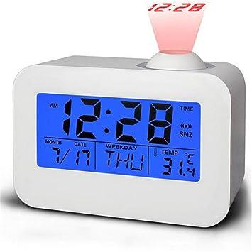 GuDoQi Reloj LCD Multifunción de Voz Digital Parlante Proyector Despertador Con Calendario Temperatura Llevó Retroiluminación: Amazon.es: Electrónica