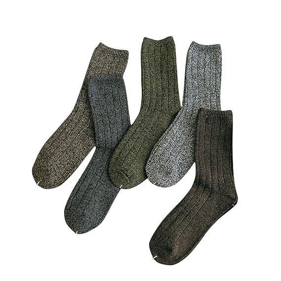 FENICAL Calcetines de algodón Línea gruesa Retro Calcetines de tubo neutro para hombres Tamaño libre 5 pares: Amazon.es: Ropa y accesorios
