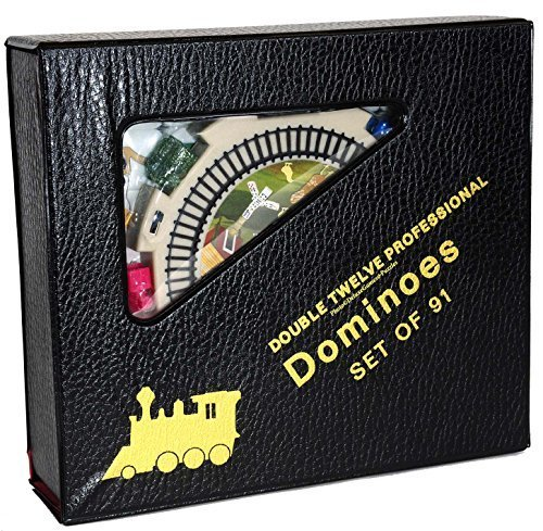 Deluxe Games and Puzzles Dominoes Numbered, Double 12, Professional Mexican Train Set
