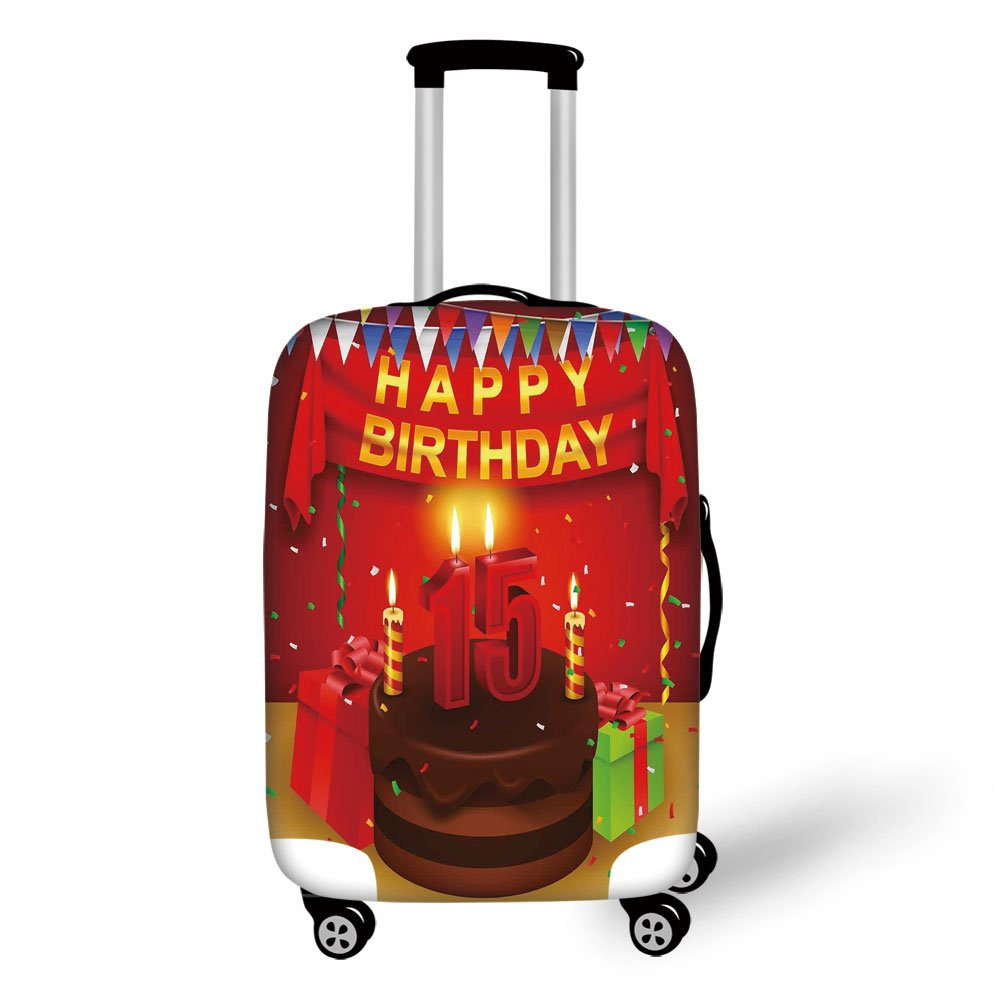 Travel Luggage Cover Suitcase Protector,15th Birthday Decorations,Teenage Party Set Up with Colorful Flags Ribbons Balloons Cake,Multicolor,for Travel