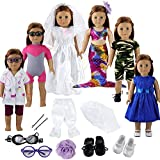 Barwa 12 Pieces Doll Clothes and Accessories Fashion Summer Clothing Mermaid Tail Dress Sets for 18 Inch American Girl Doll