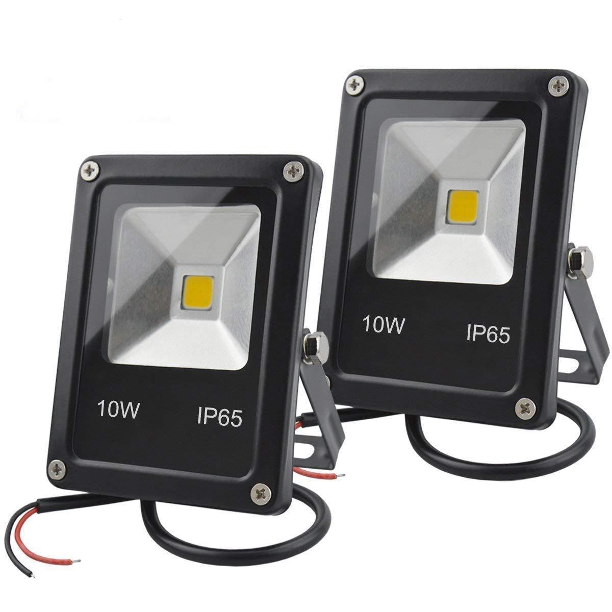GLW 12V AC ou DC LED Lumière d'inondation, 10W Mini IP65 extérieure imperméable à l'eau de travail, 900lm, 3000K, Lumière de sécurité blanc chaud, 80W Ampoule halogène équivalente, 2 Pack NO Pl