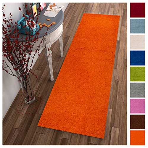 Solid Retro Modern Orange Shag 2x7 ( 2'' x 7'3'' Runner ) Area Rug Plain Plush Easy Care Thick Soft Plush Living Room Kids Bedroom (Room Decor Retro)