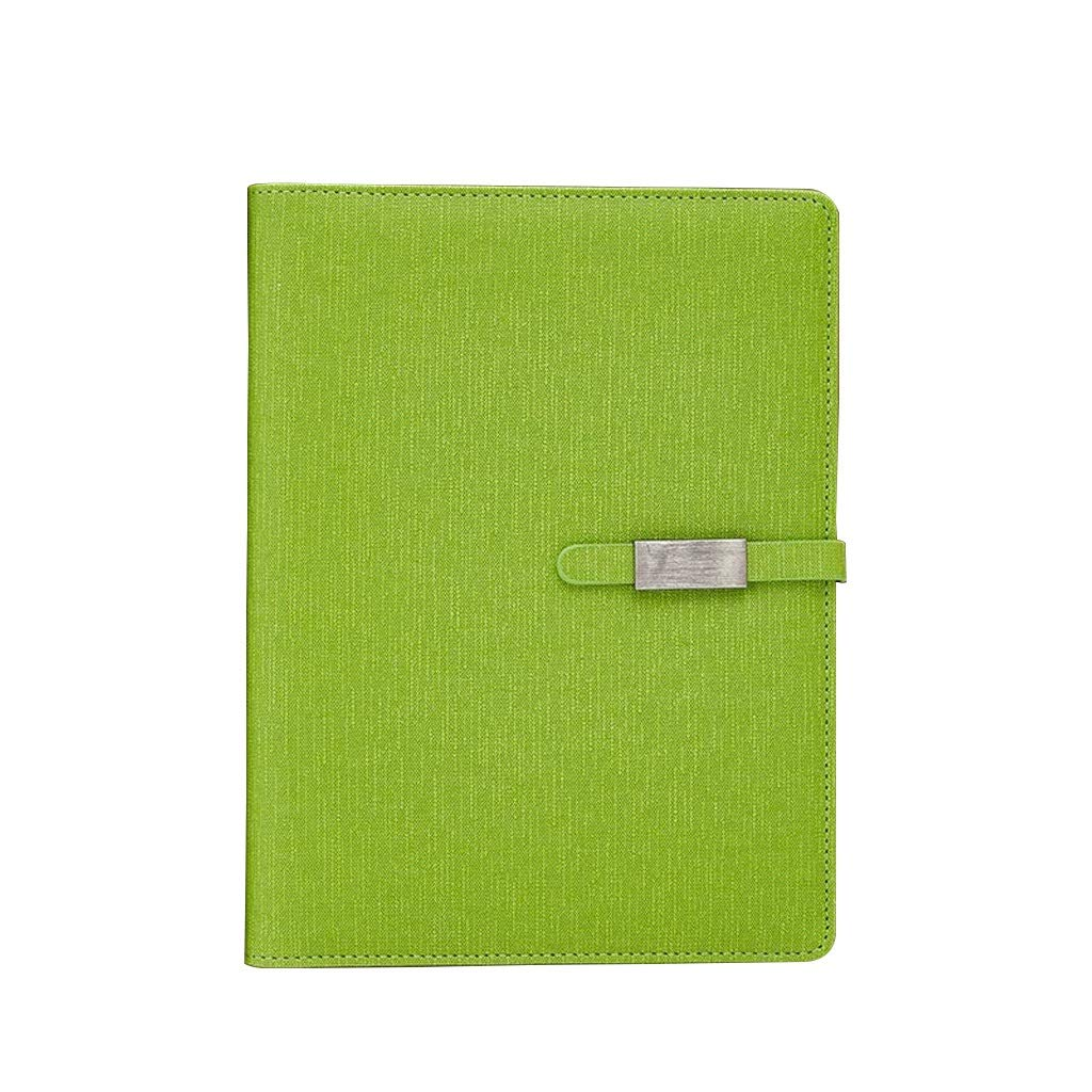 FS A5 Loose-Leaf Paper Notebook, Can Be Filled with Diary, Diary and Notebook, Leather Padded Cover, Loose Notebook Pen Ring and Magnetic Clip (Color : Green) by FSBJB