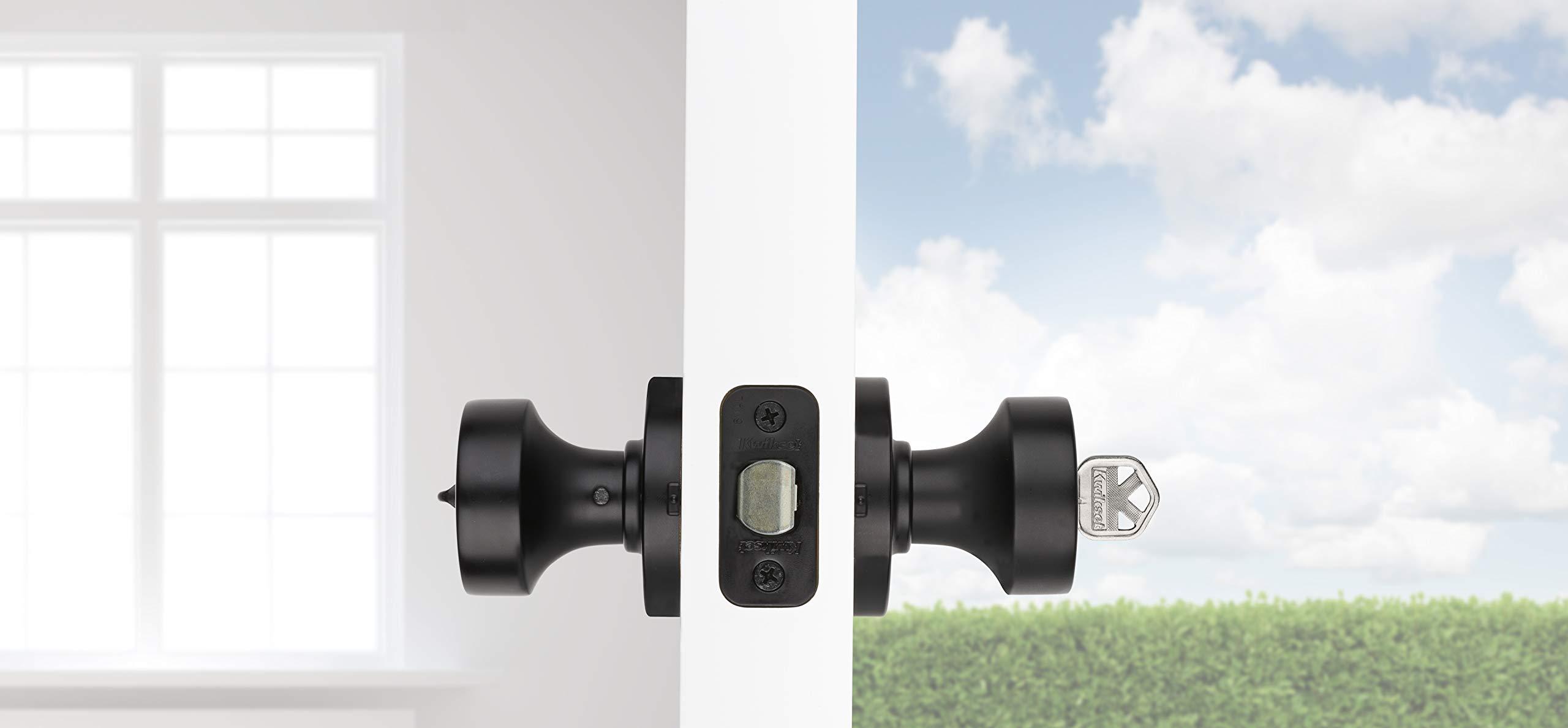 Kwikset 97402-854 Pismo Keyed Entry Door Knob Featuring SmartKey Security Iron Black by Kwikset (Image #4)