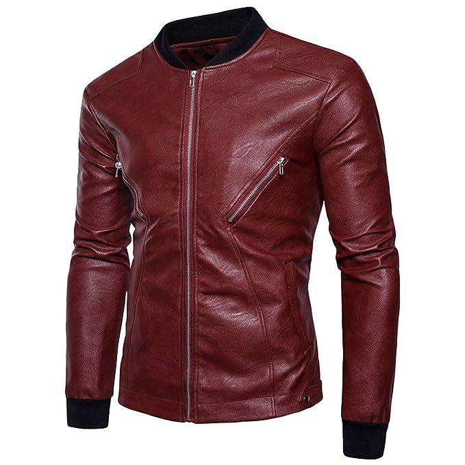 Amazon.com: Sagton Mens Autumn Winter Leather Jacket Motorcycle Biker Zipper Outwear Coat Top: Clothing