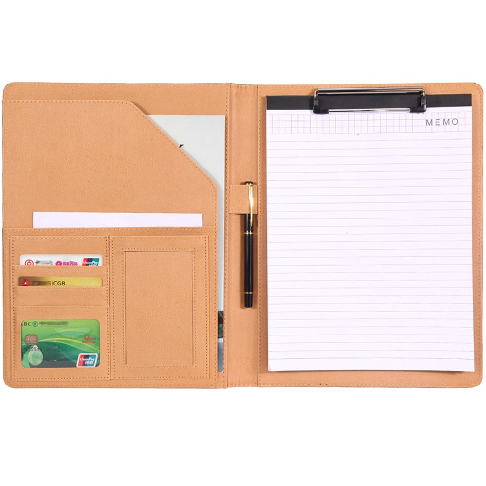 Aimeio Multifunctional A4 Clipboard File Folder PU Leather Portfolio Cover with Document Pocket,Card Insert Slot,Pen Loop Holder,Business Letter Size Writing Notepad Clipboard File Holder (Black)