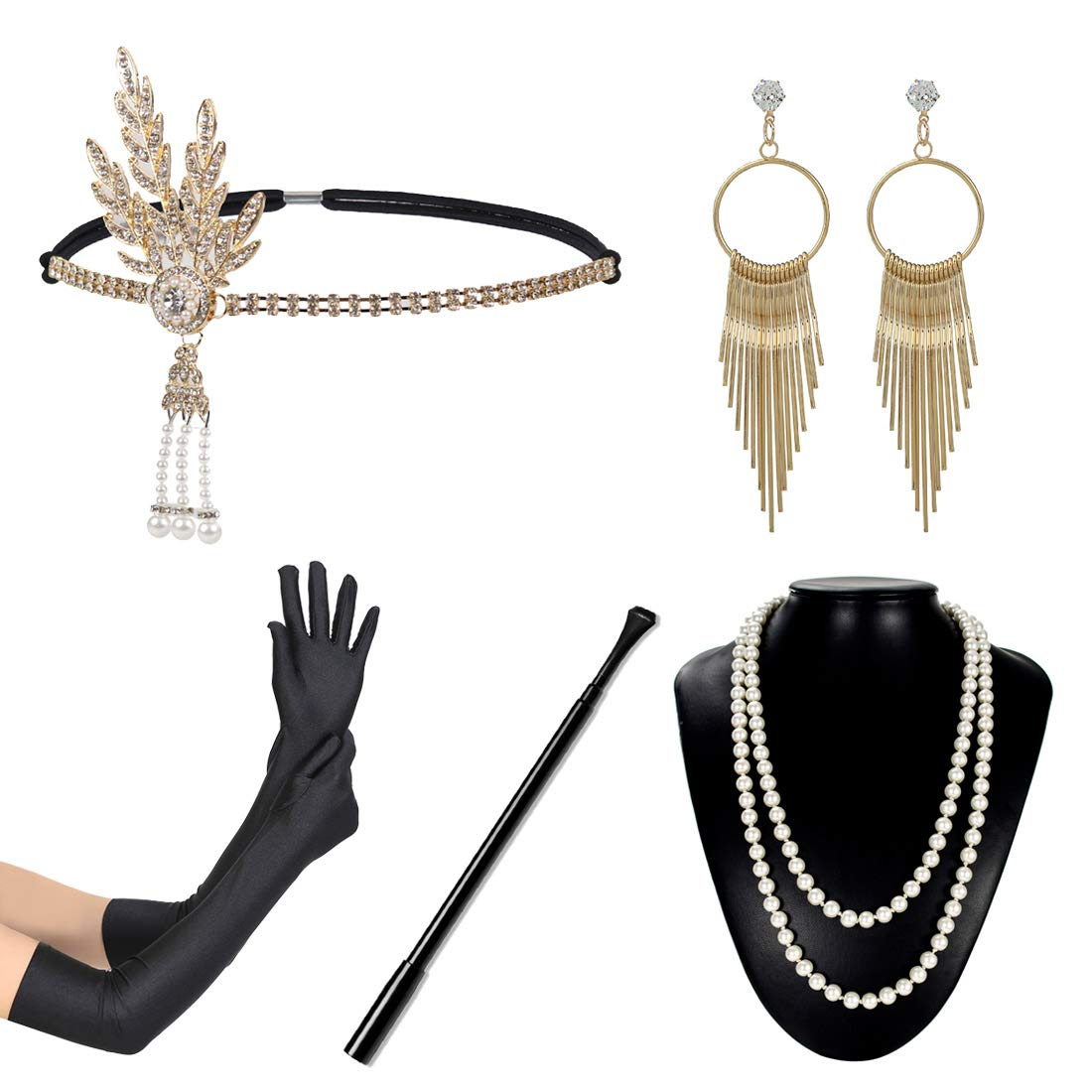 1920s Flapper Accessories Set Women Vintage Headband Necklace Gloves Cigar Holder Earrings Gatsby Costume for Roaring 20s Party Prom