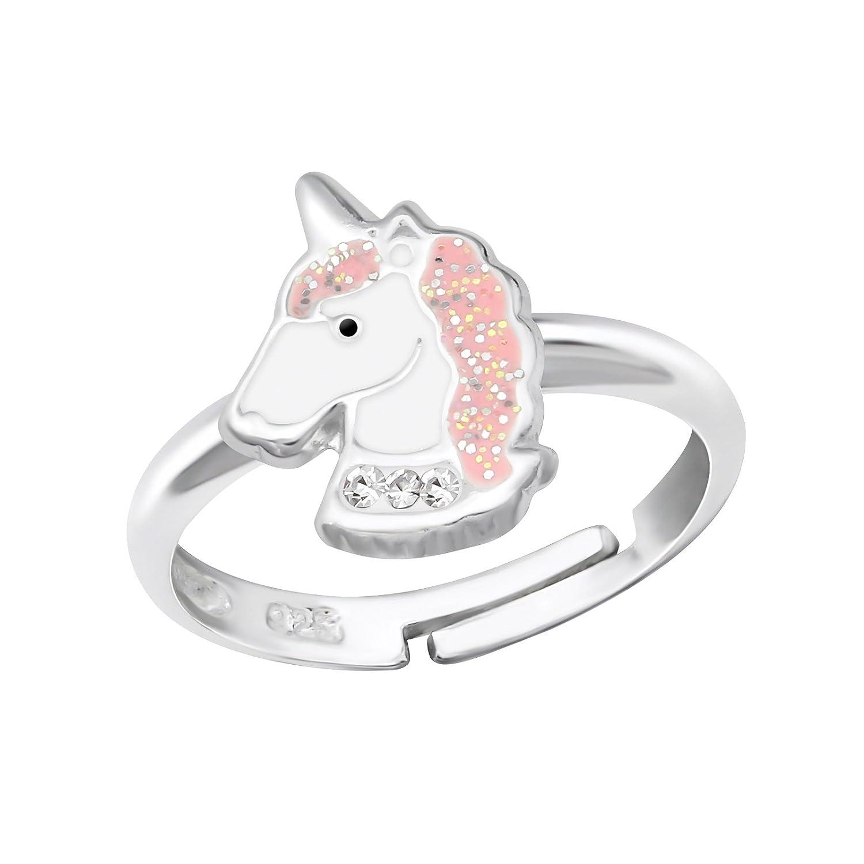 Fille Rose Tête de licorne Argent sterling Bague réglable I love silver jewellery n/a
