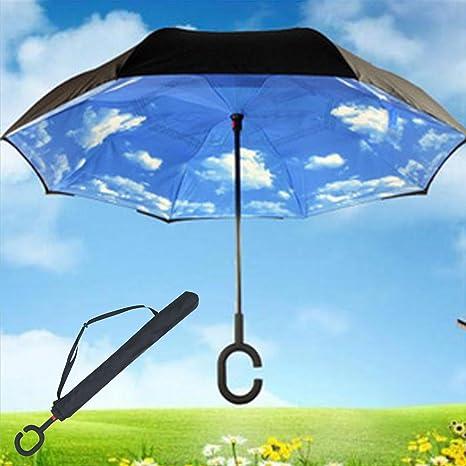 C- mango en forma de paraguas plegable automático de doble cubierta de lluvia sol del