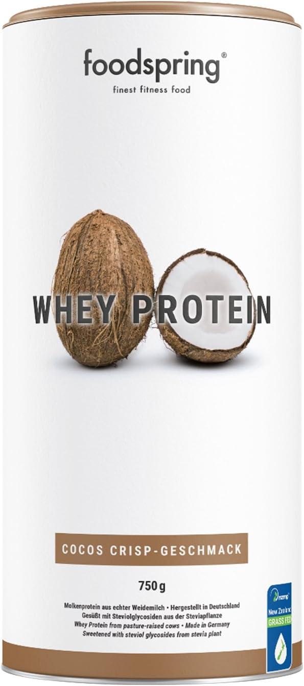 foodspring Proteína Whey, Sabor Coco, 750g, Fórmula en polvo alta en proteínas para unos músculos más fuertes, elaborada con leche de pastoreo de primera calidad