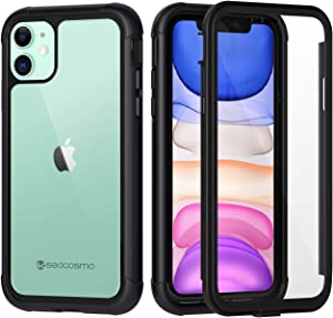 Seacosmo iPhone 11 Case, Full Body Shockproof Cover [with Built-in Screen Protector] Slim Fit Bumper Protective Phone Case for iPhone 11 – Black/Clear