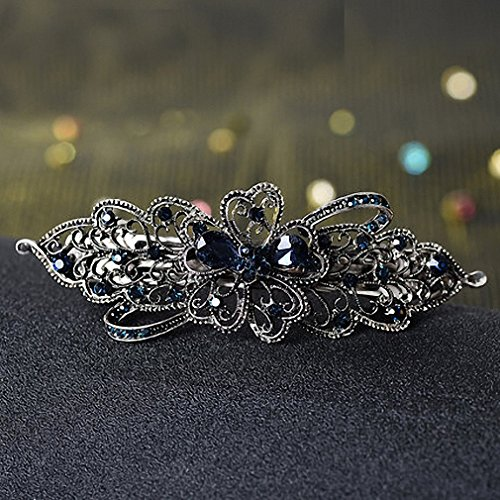 Womens Barrettes Blue Peacock Hairpins Rhinestone Crystal Flower Leaf Hair Clip Barrettes Vintage Hair Accessories Jewelry for Women Girls Antique Bronze Plated