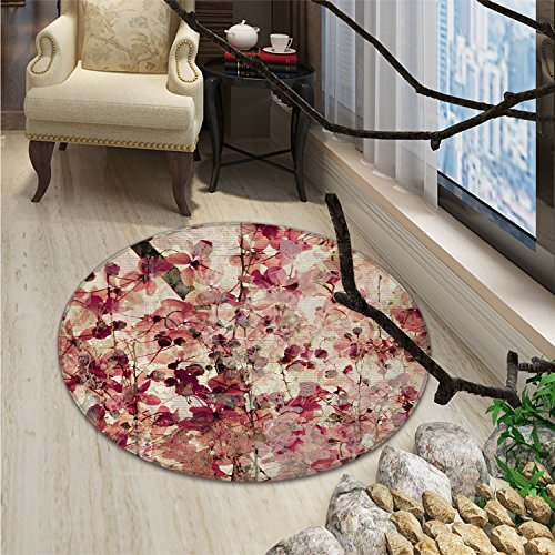 Round Rug Antique Floral (Antique Round Area Rug Grungy Effect Cherry Blossoms on Ribbed Bamboo Retro Background Floral Art WorkOriental Floor and Carpets Pink Beige)