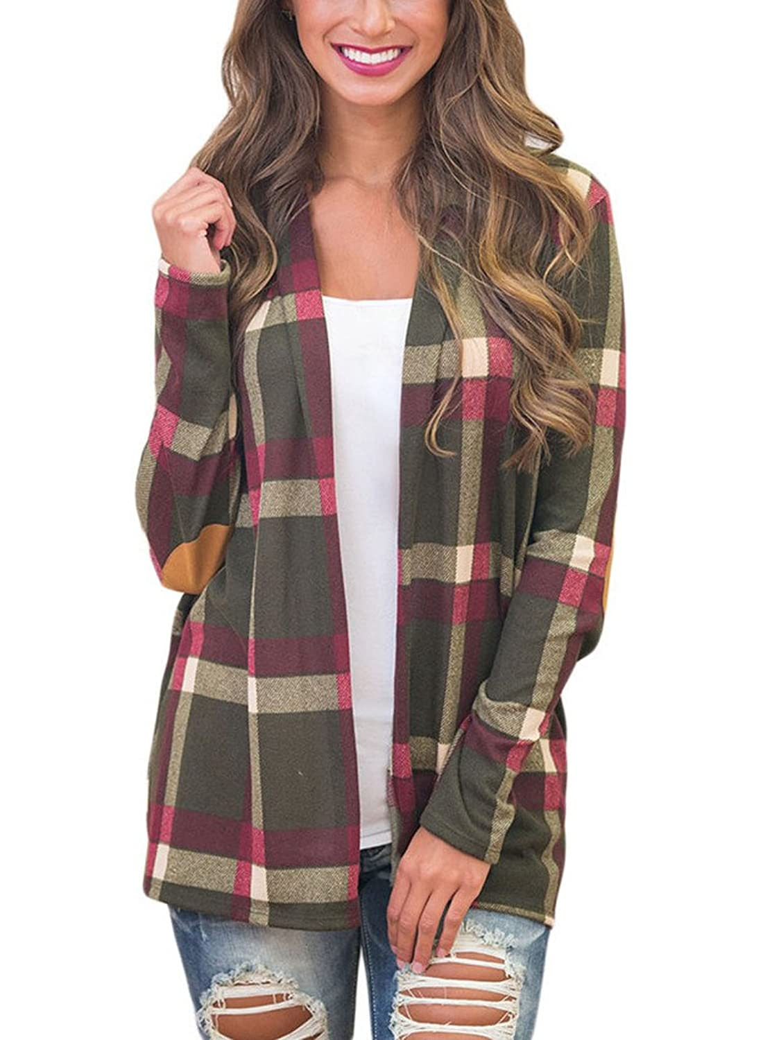 ROSKIKI Women's Long Sleeve Elbow Patch Open Front Buttonless Casual Plaid Kimono Cardigan