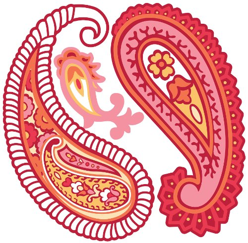 Brewster Wall Pops WPD99843 Peel & Stick Paisley Please, Red/Pink, ()