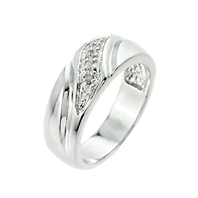 Simple S925 Sterling Silver Mens Ladies Couple Promise Ring ...