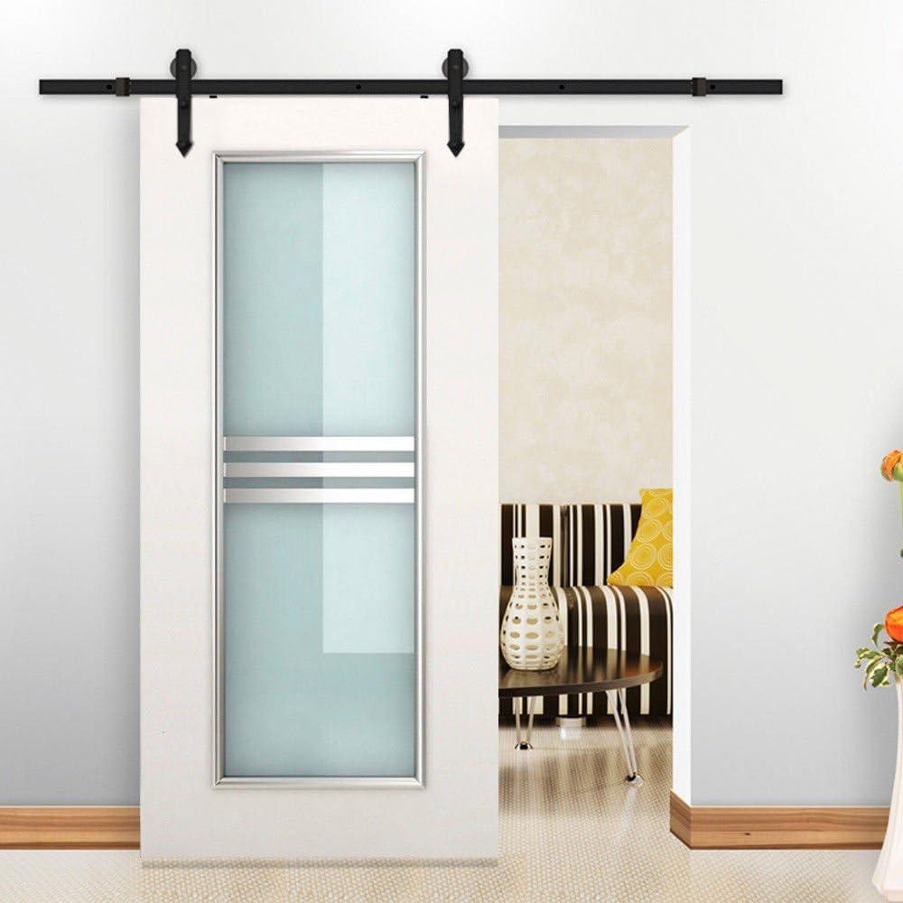 IKayaa puerta corredera de acero | juego de herrajes para puertas de madera | puerta corredera negra | juego de rieles para guardarropa | Ahorro de espacio, adecuado para cocina, estudio, baño,