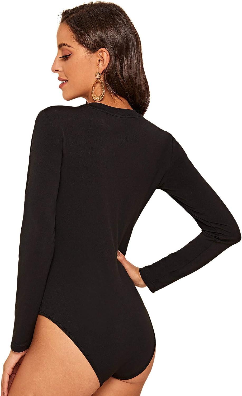 Romwe Womens Elegant Houndstooth Print Long Sleeve Mock Neck Slim Fit Bodysuit