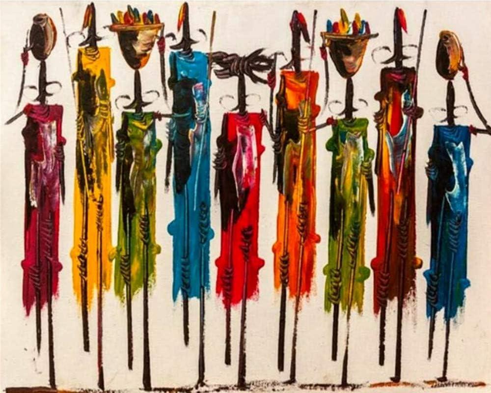 Kits de pintura diy por números para adultos principiantes niños, lienzo de arte acrílico pintura al óleo regalos para amigos pintura de arte abstracto-África, 40x50 cm