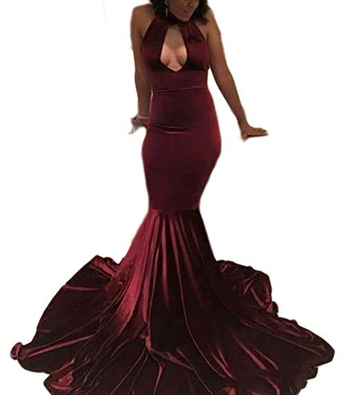 Veilace Womens Velvet Prom Dress Mermaid High Neck Keyhole Evening Dress Backless Long Pageant Formal Gowns