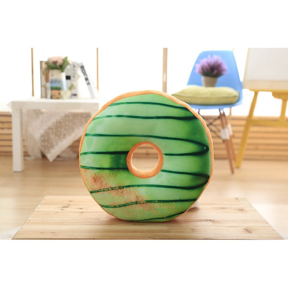 ChezMax Round Doughnut Donut Back Stuffed Cushion Insert Filler Filling Throw Pillow Plush Play Toy Doll for Office Chair Car Seat Women Yoga Dance Men Green 16 X 16''