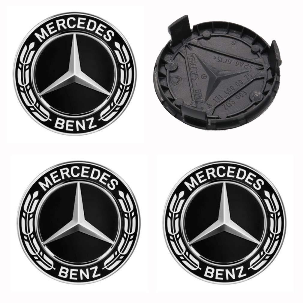 4 x Nuevo 75mm Logo Insignia Emblema Rueda Centro tapacubos Tapas Serie Encajar Mercedes Benz: Amazon.es: Coche y moto