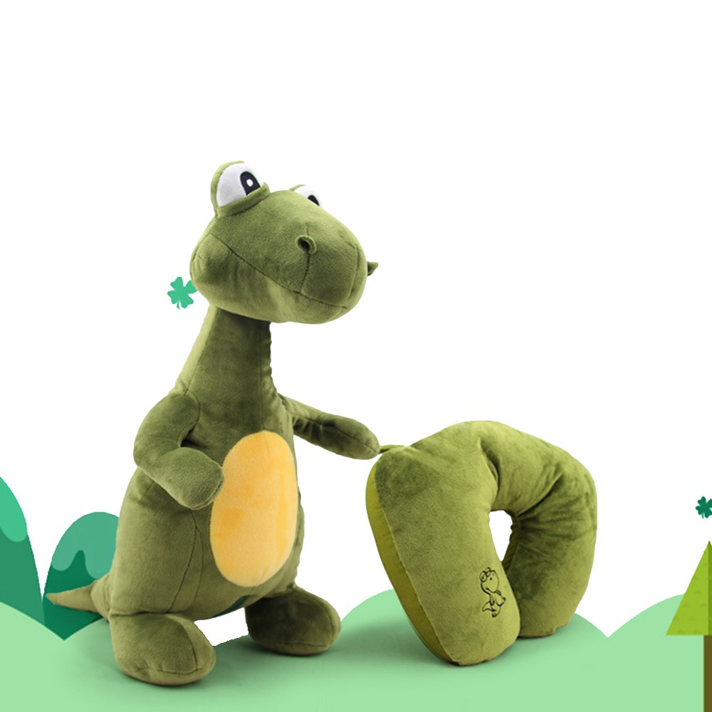 LOHOME U-shape Neck Pillow, 2-in-1 Dinosaurs Transformable Travel Pillow Cute Convertible Dinosaurs Plush Toy / Doll Nap Pillow for Driver and Officer Airplanes