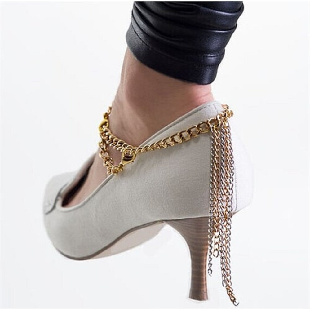 Kaamastra Casual Gold Color Draping Chain Anklet Q2YLE007GD