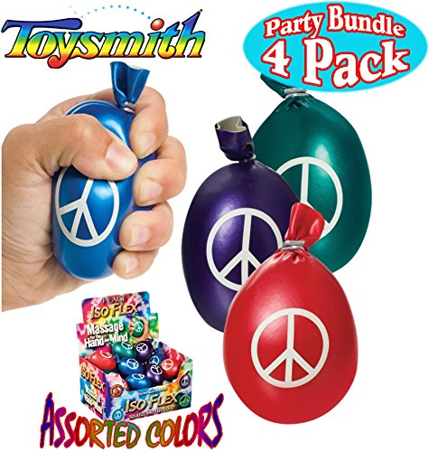 Toysmith Peace IsoFlex Stress Balls Party Set Bundle - 4 Pack (Assorted Colors)