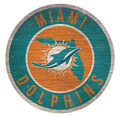 Fan Creations Miami Dolphins Wood Sign 12 Inch Round State Design ()