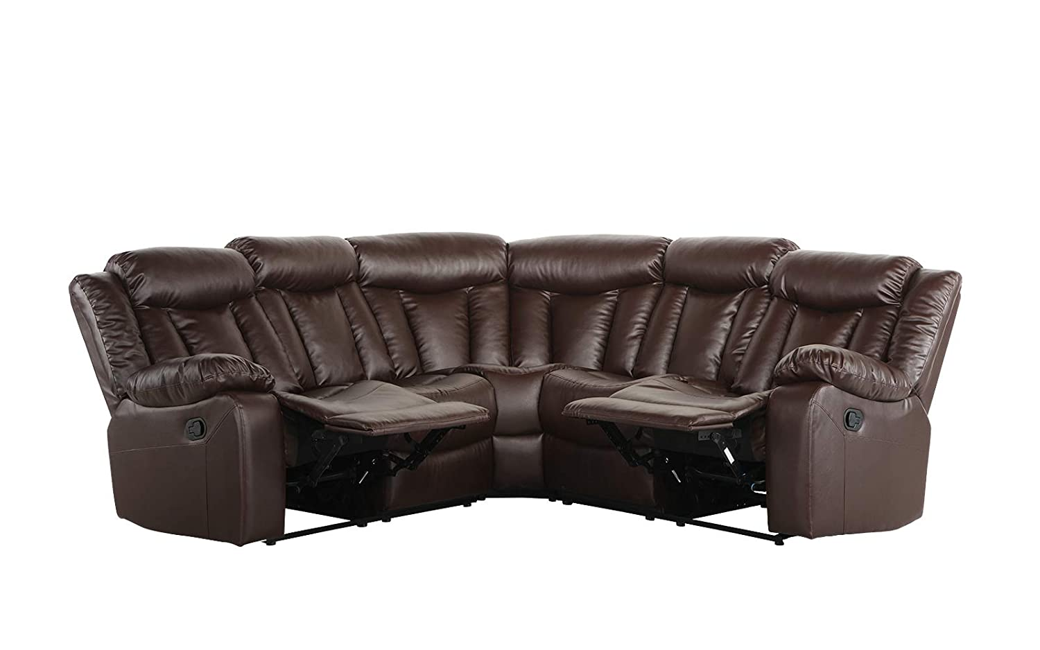 Amazing Upholstered 88 1 Inch Leather Recliner Sectional Sofa Brown Pdpeps Interior Chair Design Pdpepsorg