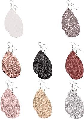 Faux Leather Earrings Lightweight Leaf Dangle Earrings