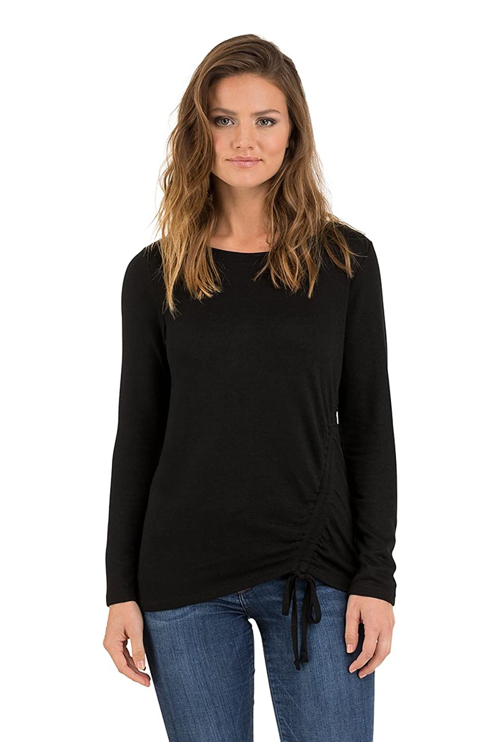 Como Blu Casual Cozy French Terry Long Sleeve Top For Women With Drawstring