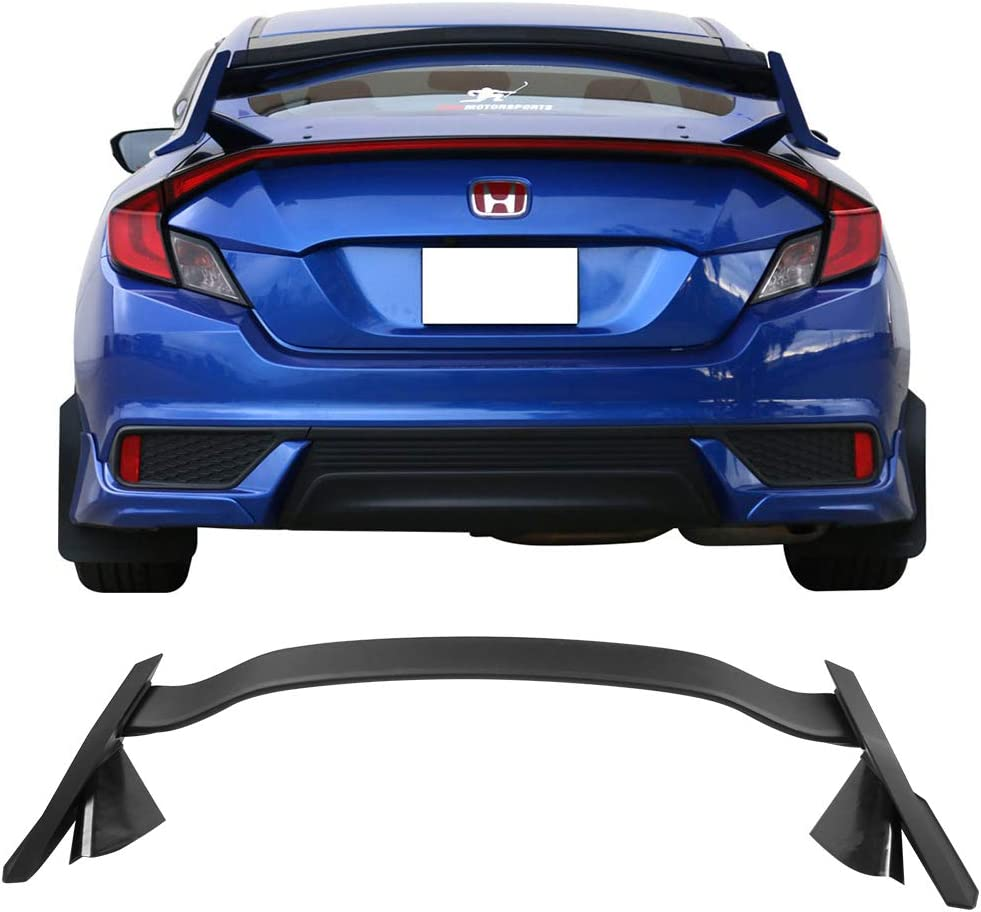 IKON MOTORSPORTS Trunk Spoiler Compatible With 2016-2020 Honda Civic 4Dr Sedan Factory TR Unpainted ABS Rear Spoiler Wing Deck Lid