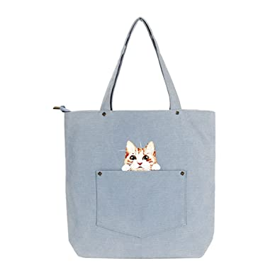 6d093ac862 Image Unavailable. Image not available for. Color: HFmorning Canvas Casual  Shoulder Bag Women's Tote Cute Cat Printing Shopping Handbag Beach Travel Eco  Bag