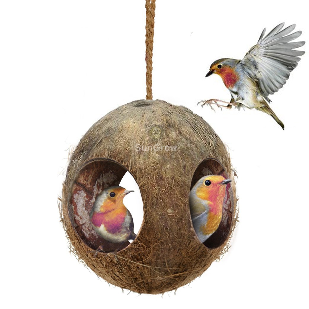 SunGrow 3-Hole Coco Bird Hut, Perfect for Hiding Millet and Nesting Material, Birdhouse Makes for Mini condo, Charming Natural Home Decor, Hang Food Dispenser in a Tree in Front Yard or Patio