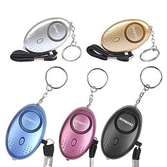 OFNMY 5pcs Alarma Personal Electrónico de la Alarma Portátil Multicolores con la LED 120-130db para Mujeres/Niños/Muchachas/Ancianos/Estudiante (68 * ...