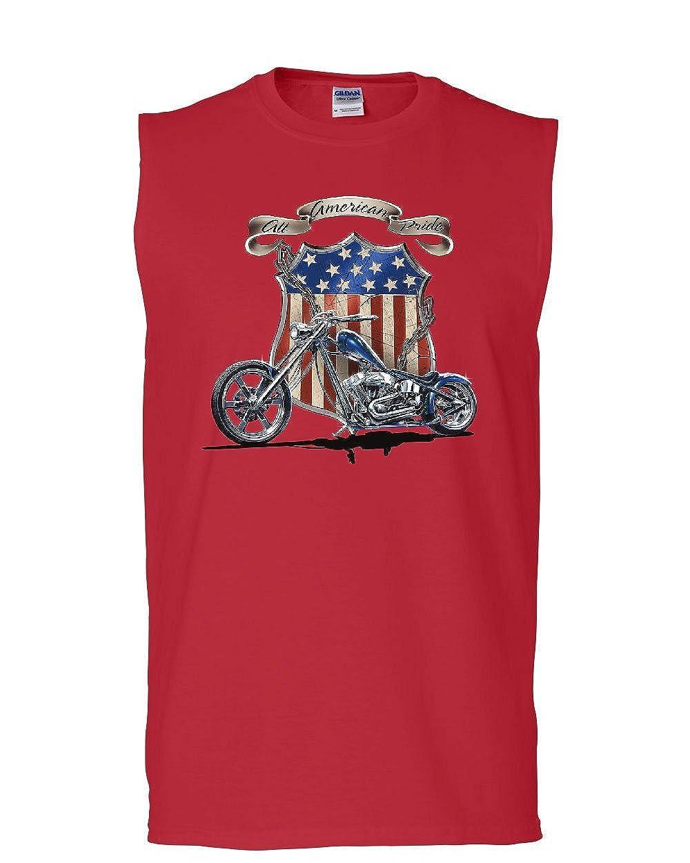 Tee Hunt American Pride Route 66 Muscle Shirt Biker Chopper Ride Die Sleeveless
