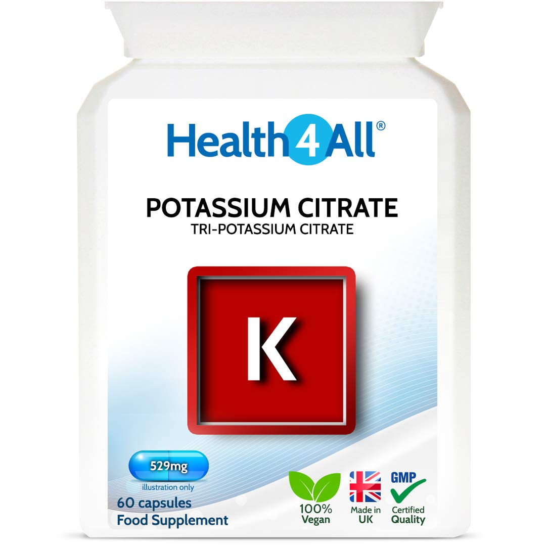 Potassium Citrate 529mg 60 Capsules (V) High Elemental Potassium. Vegan. Made by Health4All