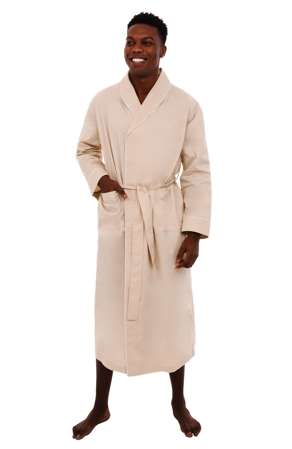 Alexander Del Rossa Mens Solid Cotton Robe, Lightweight Woven Bathrobe A0715-Solid