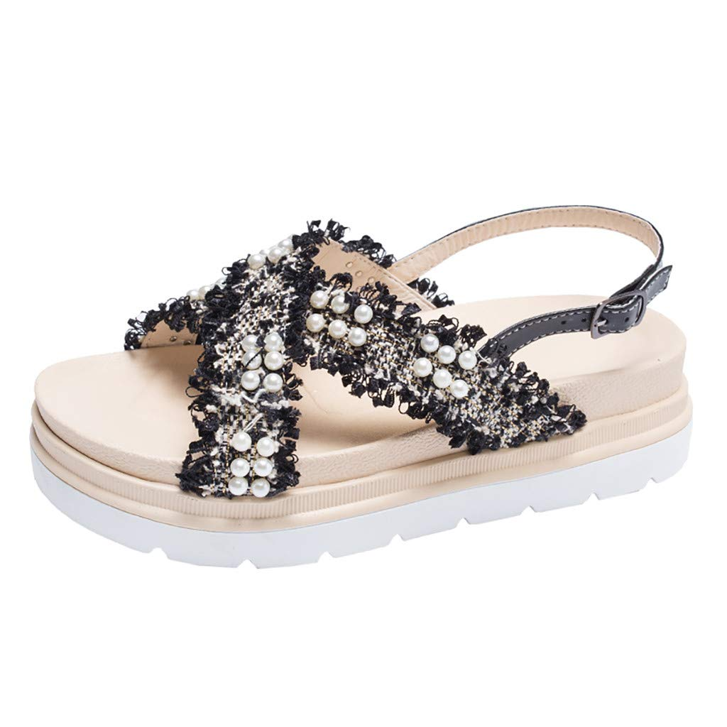 Women's Criss Cross Strappy Flatform Sandals Open Toe Summer Ankle Strap Buckle Pearl Shoes Black