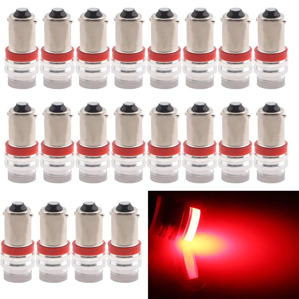 EverBright 20-Pack rouge BA9 BA9S 53 57 1895 64111 T4W céramique SMD 1W LED remplacement pour voiture plaque d'immatriculation ampoule côté porte avec la permission de porte lampe intérieure carte lumières DC12V