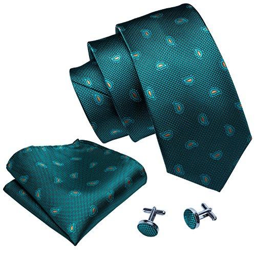 Barry.Wang Necktie Set Teal Pasiely Mens Ties Hanky Cufflinks