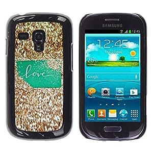All Phone Most Case / Hard PC Metal piece Shell Slim Cover Protective Case Carcasa Funda Caso de protección para Samsung Galaxy S3 MINI NOT REGULAR! I8190 I8190N Bling Green Text Gold Glitter Shiny