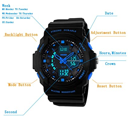 Reloj Niño Digital,Reloj Digital-Analogico LED Azul,Water Resistant,Deportivo: Amazon.es: Relojes