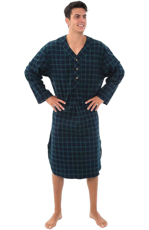 Alexander Del Rossa Mens Flannel Nightshirt, 100% Cotton Long Sleep Shirt A0542