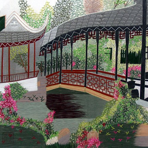 King Silk Art 100% Handmade Embroidery Feng Shui Pagoda Japanese Garden Chinese Print Framed Landscape Architecture Painting Asian Wall Art Décor Artwork Hanging Picture Gallery 37018WFG