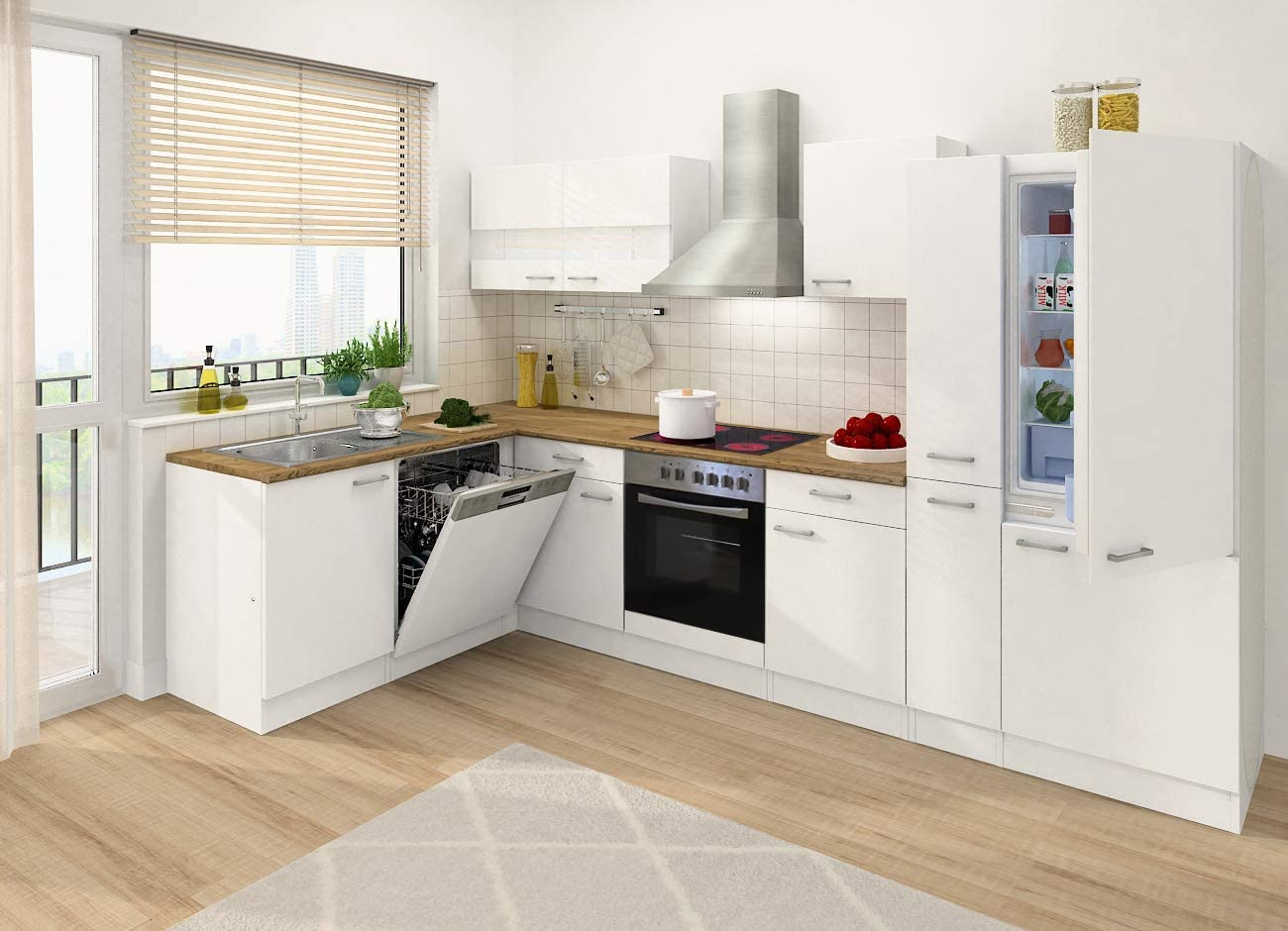 respekta - Mueble de cocina (310 x 172 cm, forma de L), color blanco: Amazon.es: Hogar